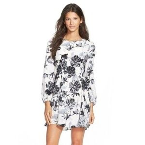 Everly Black White Floral Dress NWT